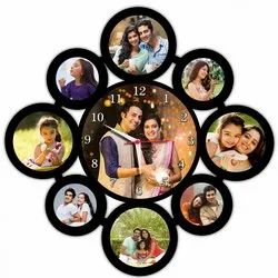 Wooden Black Photo Frame Clock, For Home, Size: 16x16