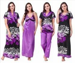 Satin Ladies Printed Purple Night Dress And Night Gown Set