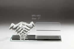 Crystal Glass Transparent Hand Visiting Card Pen Stand Holder