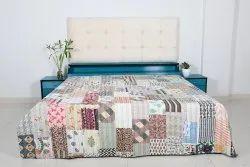 Vintage Kantha Printed Cotton Patchwork Quilt Ethnic Patchwork Kantha Decorative Cotton Quilt