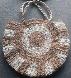 Brown Plain Handmade Crosia Bag, Size: 12