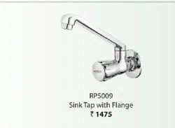Silver Stainless Steel WATERTEC retro sink tap with flange