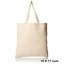 Handled White 15 X 17 Inch Cotton Tote Bag