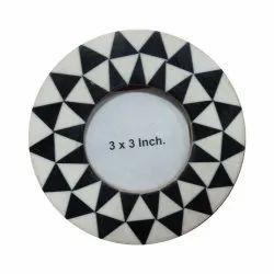 White & Black Mdf Resin Photo Frame, Size: 3x3 Inch