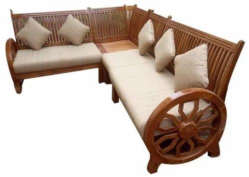 L Wooden Teak Wood Cushion Corner Sofa, Teak Wood Corner Sofa Set Designs Pictures