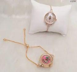 American Diamond Designer Golden Chain Watch
