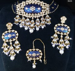 Superiour Quality  Bridal Set with American Diamond and Meenakari work