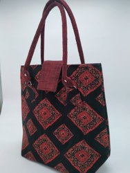 Black Cotton Rubis Designer Printed Handbag