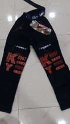 Casual Wear Black Kids Printed Denim Jeans, Machine wash