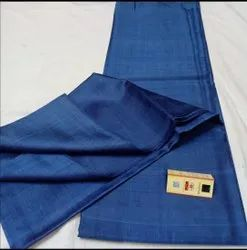 Party Wear Plain Blue Tussar Dupian Pure Raw Silk Saree, 6.3 m (with blouse piece)