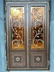 Powder Coated Designer Mild Steel Door, For Home