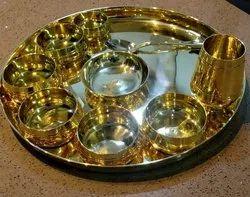 10 Piece Brass Thali Set, For Kitchen