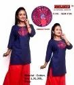 Straight 3/4th Sleeve Ladies Short Kurti, 170, Wash Care: Handwash