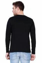 Round Men Black Plain Full Sleeves T Shirt