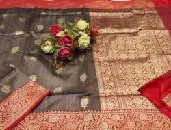 5.5 m (separate blouse piece) Weaving Ladies Banarasi Handloom Silk Party Wear Saree