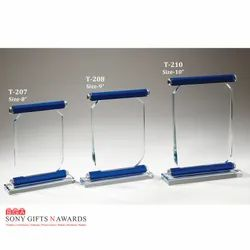 Blue Shield Top Bottom Glass Crystal Trophies Trophy