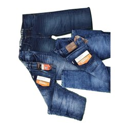 Casual Wear Faded Mens Dark Blue Shaded Denim Jeans