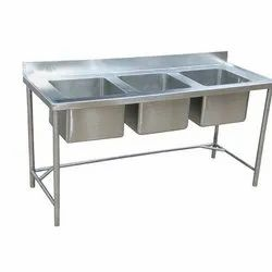 Expo Refrigeration Stainless Steel Three Sink Unit