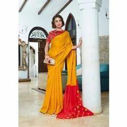 Nirvana Fashions Casual Wear Ladies Designer Cotton Silk Pom Pom Pallu Saree, 6.3 m (with blouse piece)