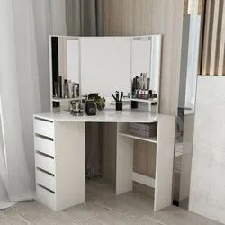 Metal Wooden Dressing Table With Drawers, Size: 10x15