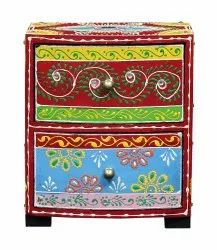 Multicolor half round wooden painted with stone work Two Drawer, Size: 6x4x7