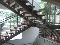 steel Wooden glass fabricated Stair