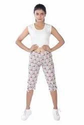 Ladies Cotton Printed Capri, 180 Gsm, Size: 28-38