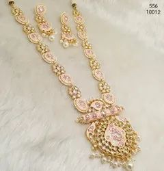 Meenakari With Pearl Long Indian Jadau Bridal Necklace Set