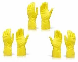 Washable Yellow Reusable Rubber Hand Cleaning Glove