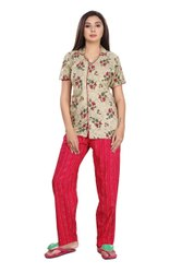 Women Rayon Printed Night Suit Half Sleeves, Shirt and Pyjama