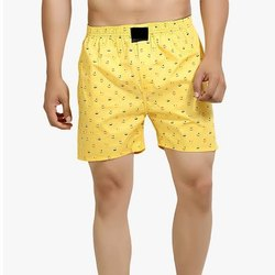 Men Yellow Printed Cotton Boxer, Packaging Type: Packet