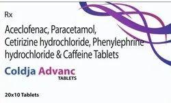 Aceclofenac, Paracetamol, Cetirizine Hydrochloride, Phenylephrine Hydrochloride And Caffeine Tablets
