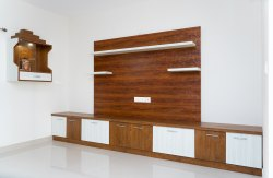 Brown Laminate Plywood Designer Wooden TV Wall Unit, For Residential