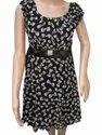 Printed Black Ladies One Piece Dress
