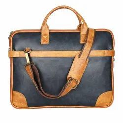 Pu Leather Laptop Bag 15.6 Inch. Office Bags Messenger Bags For Men Color: Tan And Blue