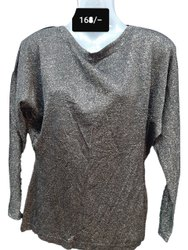 Hosiery Dark Grey Ladies Fancy T-Shirt, Size: Medium