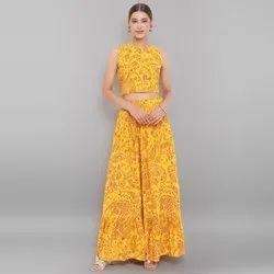 Janasya Women's Mustard Rayon Crop Top With Skirt(J0193)