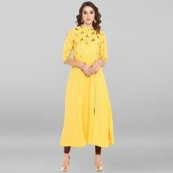 Janasya Women's Yellow Poly Crepe Kurta (JNE3357)
