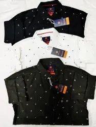 Rebirth Printed Men Party Wear Check Poplin Cotton Shirt