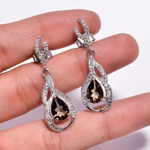 925 Sterling Silver Smoky Quartz Dangle Earrings Smoky Quartz Earrings