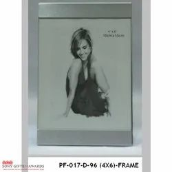 Top Bottom Vertical Glass Silver Photo Frame