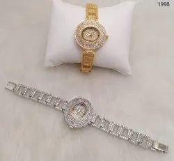 American Diamond Stone Watches for Ladies