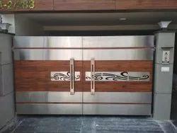 Rectangular Silver Stainless Steel Gate With HPL Sheet, Steel Grade: SS304 L