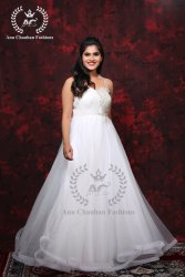 Organga Embroidered White Wedding Gown, Size: Free