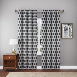 Grey Printed Cotton Curtain, For Door, Size: 7 Feet