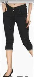 Capri, Cotton Blend, Power Lycra Fabric, Stretchable, Size 28, 30, 32, 34
