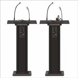 Black Wooden & steel Candypop Audio Podium- Mic Stand, For school & education