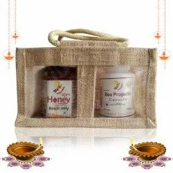 Diwali Health Gift Pack Raw Honey Enriched With Royaljelly 250g & Bee Propolis Capsule 60 Pc