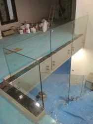 12 mm Transparent Glass Staircase, For Home