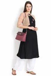 Women Solid Printed Crepe A-Line Jacket Kurta (Black, Beage)